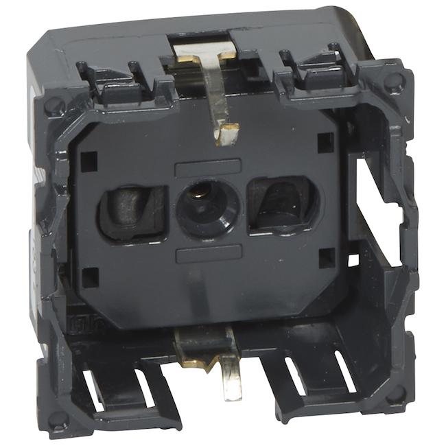 Механизм розетки электрической с заземлением 2К+З немецкий стандарт с безвинтовыми зажимами 16 A - 230 В~. Legrand Celiane(Легранд Селиан). 067153