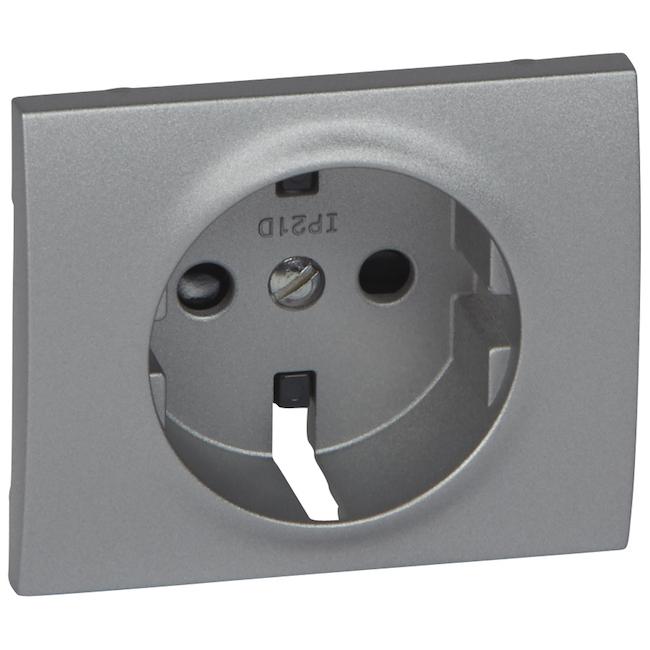 Лицевая панель для розетки электрической 2К+З - с защитными шторками. Цвет Алюминий. Legrand Galea Life (Легранд Галея Лайф). 771321