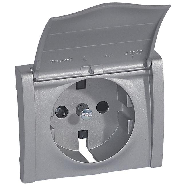 Лицевая панель для розетки электрической 2К+З - с защитными шторками + крышка. Цвет Алюминий. Legrand Galea Life (Легранд Галея Лайф). 771322