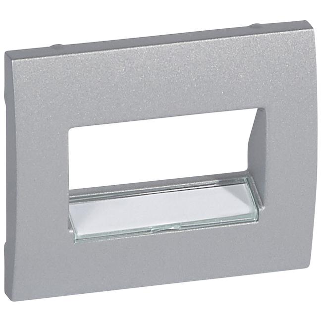 Лицевая панель с держателем этикеток для информационной розетки RJ45 1 или 2 выхода. Цвет Алюминий. Legrand Galea Life (Легранд Галея Лайф). 771375