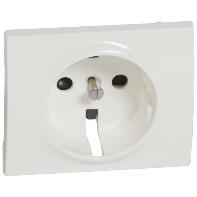 Лицевая панель для розетки электрической 2К+З - с защитными шторками. Цвет Белый. Legrand Galea Life (Легранд Галея Лайф). 777021