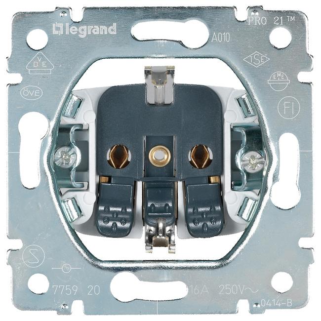 Механизм розетки электрической с заземлением - 2К+3 - автоматические клеммы. Legrand Galea Life (Легранд Галея Лайф). 775920