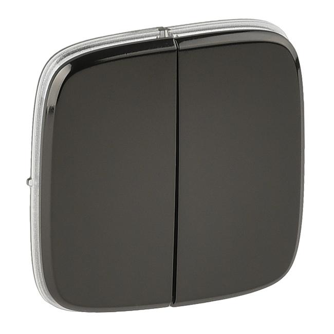 Лицевая панель для двухклавишного выключателя. Цвет Чёрная сталь. Legrand Valena Allure(Легранд Валена Алюр). 755123